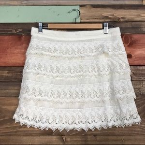 American Eagle Ivory Crochet Lace Mini Skirt